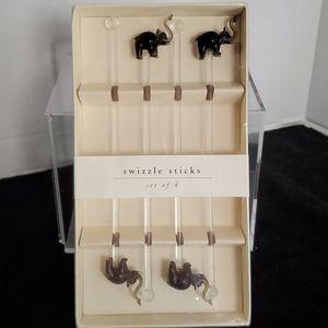 Pier One Imports Elephant Swizzle Sticks Set of 4